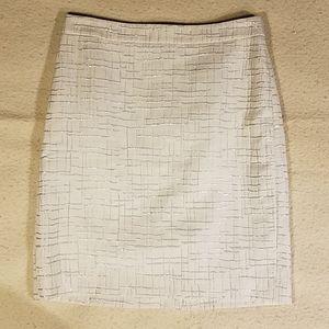 Ann Taylor LOFT White & Silver Lined Skirt Sz 0